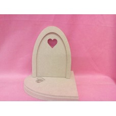 4mm MDF Plain fairy Door Heart Window Pk 5